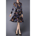 Stand Collar Plant Print Midi Dress deal