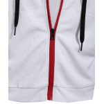 Zipper Fly Front Pocket Hooded White Short Sleeve Hoodie for sale