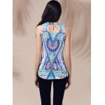 Ethnic V-Neck Printed Cut Out Top For Women for sale