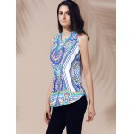 cheap Ethnic V-Neck Printed Cut Out Top For Women