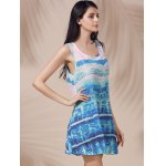 Casual Scoop Neck Printed Sleeveless Sun Dress For Women deal