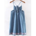 cheap Ethnic Style Sleeveless Retro Embroidery Chambray Dress For Women
