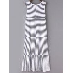 cheap Casual Round Neck Sleeveless Striped Maxi Dress For Women