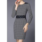 Round Collar Houndstooth Bodycon Dress