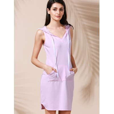 Fashionable Hooded Sleeveless Pure Color Women's Bodycon Dress
