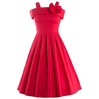 Vintage Spaghetti Strap Bowknot Embellished Dress