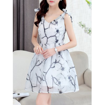 Simple Style Women's Organza Print V Neck Sleeveless Dress