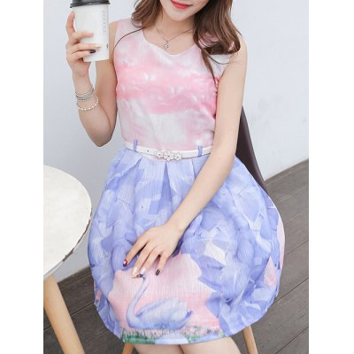Belted Sleeveless Organza Colorful Swan Print Dress