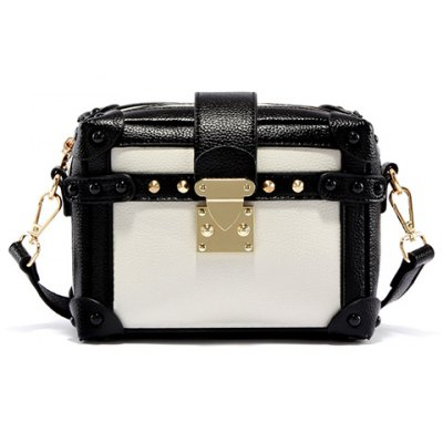Vintage Color Block and Hasp Design Crossbody Bag For Women
