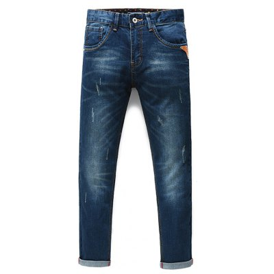 Fashion Straight Legs Men's Cropped Jeans