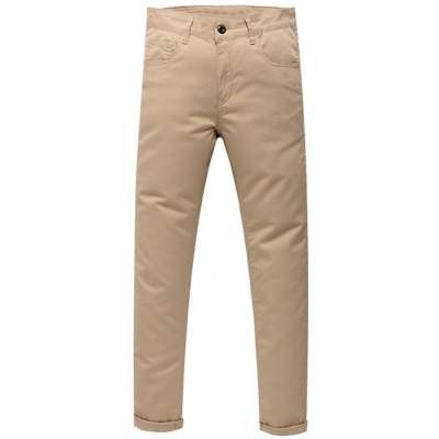 Zip Fly Solid Color Pants