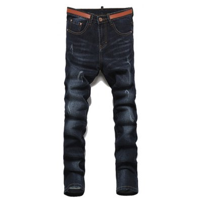 Ripped Straight Legs Solid Color Zip Fly Men's Jeans
