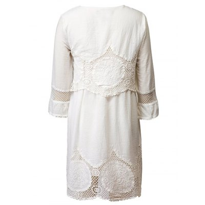 Casual Lace Patchwork Women's White Dress