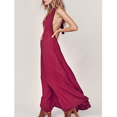 Stylish Halter Neck Sleeveless Backless Solid Color Women's Dress