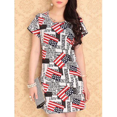 Scoop Neck Letter Print Stars Pattern Short Sleeves Dress For Women