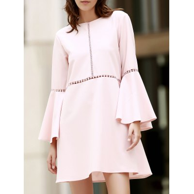 Round Neck Flare Sleeve Loose Cut Out Dress