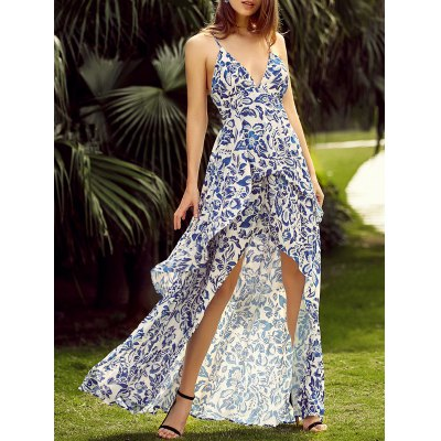 Trendy Plunging Neck Back Lace Up Floral Print Asymmetric Maxi Dress For Women