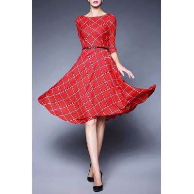 Plaid Belted Swing Dress