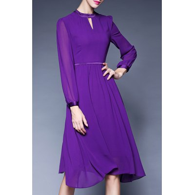Midi Chiffon Long Sleeve Dress