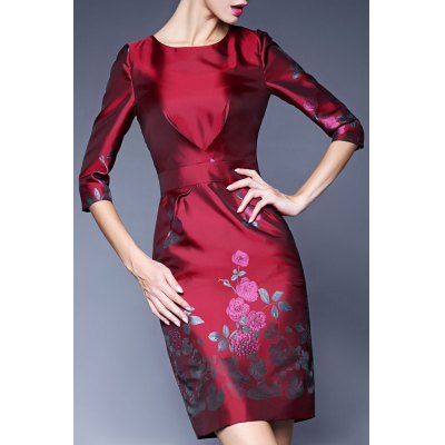 Sheath Rhinestone Floral Jacquard Dress