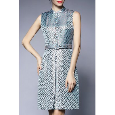 Printed Button Up Knee Length Dress