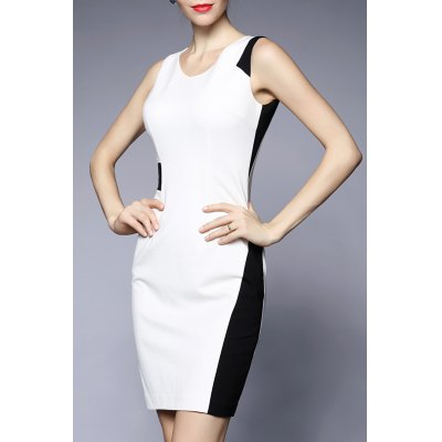 V Neck Sheath Color Block Dress