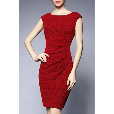 Jacquard Sleeveless Sheath Dress