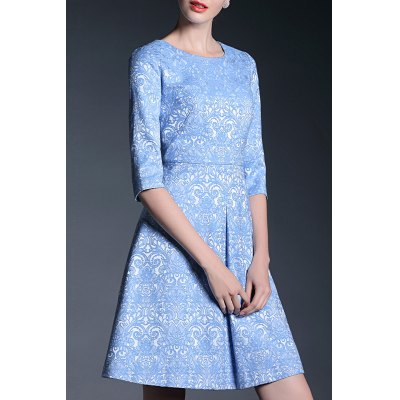 Jacquard Round Collar A Line Dress