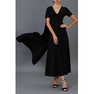 Solid Color Cloak Maxi Dress