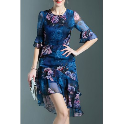 Floral Print Round Collar Irregular Bell Sleeve Dress