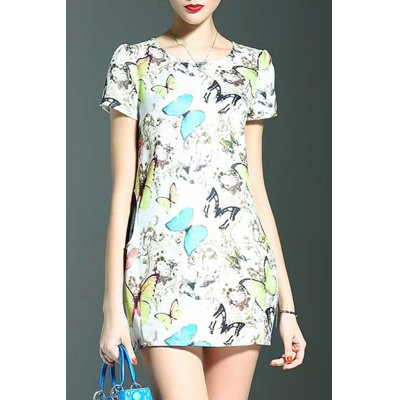 Stylish Round Neck Short Sleeve Fitting Butterfly Print Women's Dress