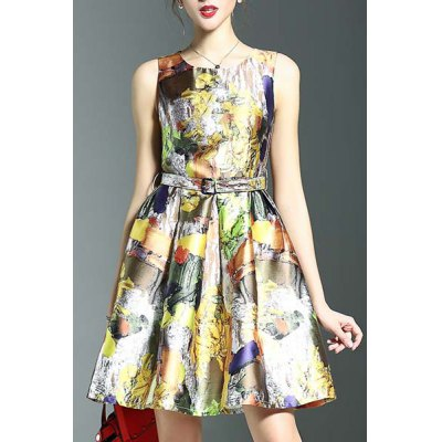 Round Neck Sleeveless Belted Printed Dress