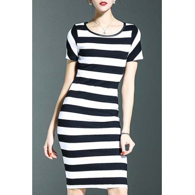 Stylish Round Neck Short Sleeve Striped Packet Buttock Women's Dress