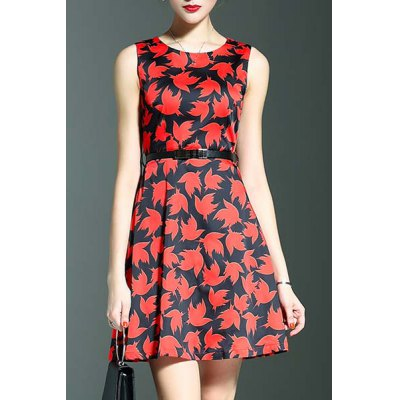 Round Neck Sleeveless Belted Maple Leaf Print Dress