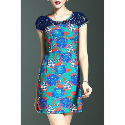 Stylish Round Neck Short Sleeve Lace Spliced Printed Women's Dress