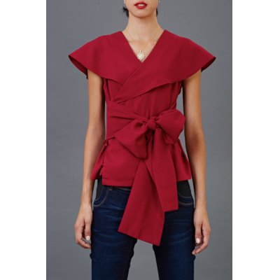 Self-Tied Cape Blouse