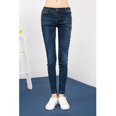Embroidered Sheath Jeans