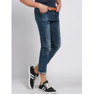 Casual Solid Color Ripped Zip Fly Mens Cropped JeansMens Jeans<br>Casual Solid Color Ripped Zip Fly Mens Cropped Jeans<br><br>Material: Jeans<br>Pant Length: Cropped Pants<br>Wash: Medium<br>Fit Type: Loose<br>Closure Type: Zipper Fly<br>Weight: 0.750kg<br>Package Contents: 1 x Cropped Pants
