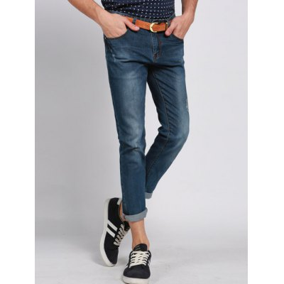 Solid Color Ripped Zip Fly Men's Cropped Jeans
