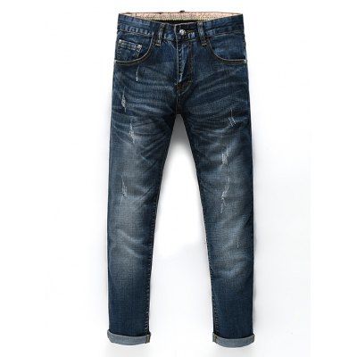Zip Fly Straight Legs Men's Cropped Jeans
