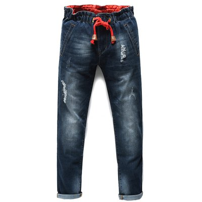 Lace Up Straight Legs Men's Cropped Jeans