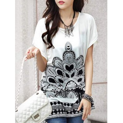 Short Sleeve Floral Print Loose-Fitting Women's T-Shirt