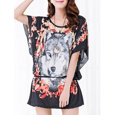 Floral Print Wolf Pattern Loose-Fitting Women's Belted T-Shirt