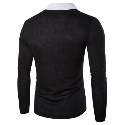 Faux Twinset Color Block Shirt Collar Long Sleeves Slimming T-Shirt For Men