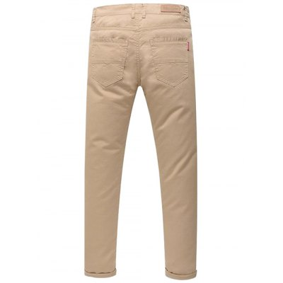 Casual Zip Fly Solid Color Pants For Men
