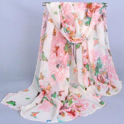 Various Butterflies and Flowers Pattern Chiffon Scarf For Girls