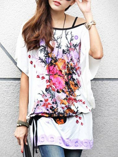 Casual Floral Print Loose-Fitting Women's Belted T-Shirt