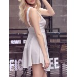 best Sweet Solid Color Scoop Neck Backless Women's Sundress