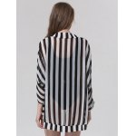Stylish Collarless Striped 3/4 Sleeve Cover-Up For Women photo