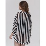 best Stylish Collarless Striped 3/4 Sleeve Cover-Up For Women